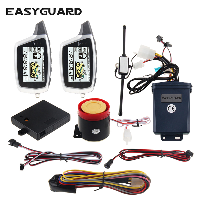 Good quality easyguard 2 way motorcycle alarm system microwave detecting shock sensor LCD pager display rechargeable