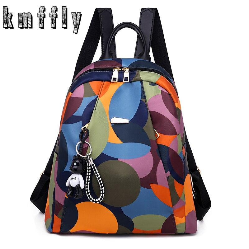 KMFFLY Oxford Backpack School-Bags Teenage Travel Waterproof Nylon Black Women Fashion