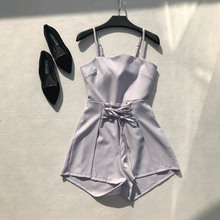 New Summer Rompers Womens Jumpsuit Slim Sexy Spaghetti Strap Solid Beach Wear Bohe Playsuits Girls Backless Bow Bodysuits