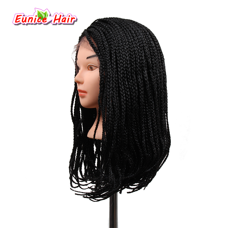 Eunice Color 4 Ombre 16inch Bob Synthetic Lace Front Wig with Baby hair Box Braiding Hair Wigs Dark Brown for African American