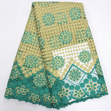 Latest design African water soluble lace fabric high quality with stones embroidered sold lace trim for women dress