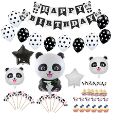 Panda Birthday/Party Decorations Kids Baby Shower Party Balloon Foil Balloons Happy Birthday Banner Cupcake Toppers
