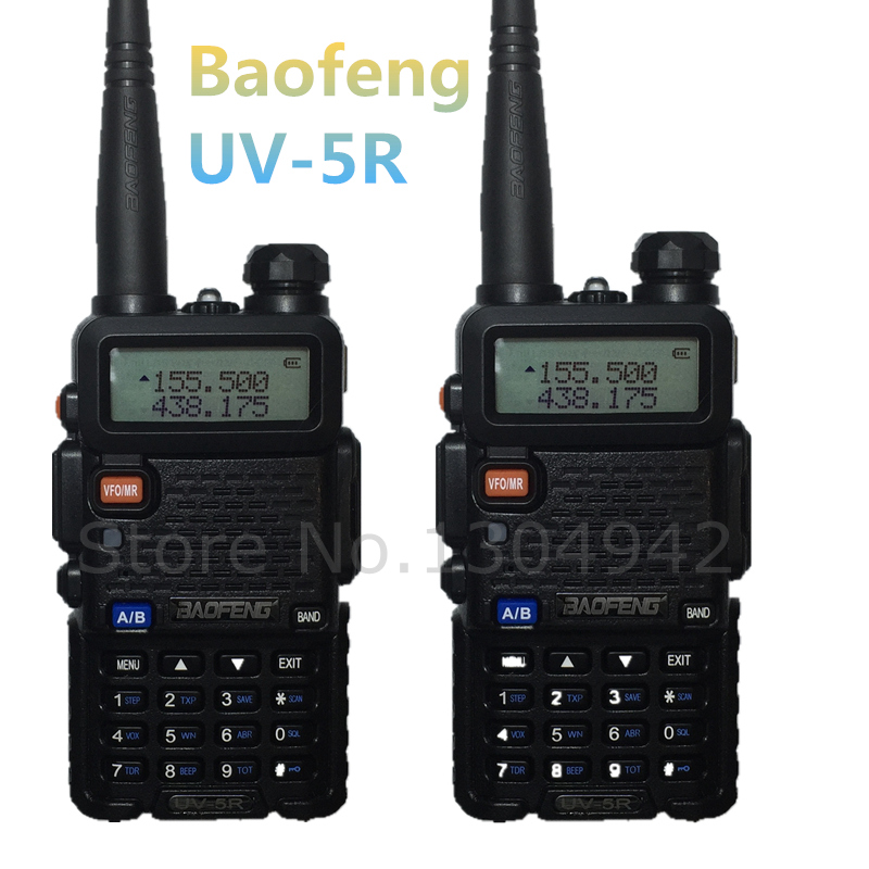 2 PCS BAOFENG UV 5R WALKIE TALKIE Black ham amateur two way radio dual band vhf