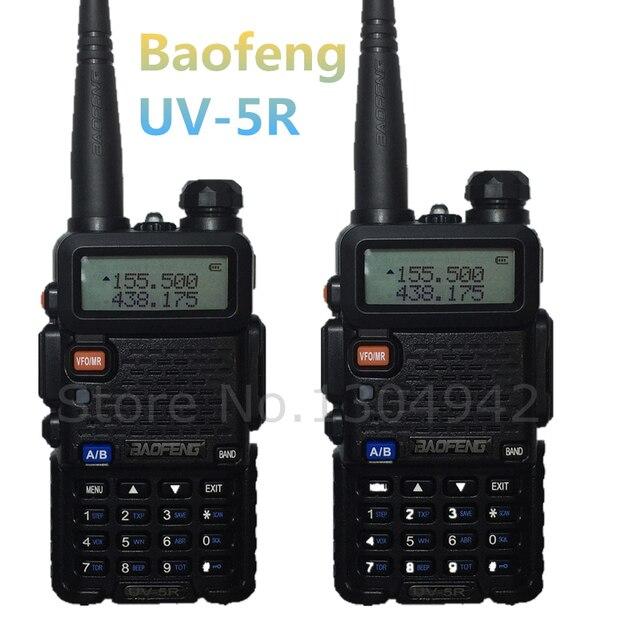 2-PCS BAOFENG UV-5R WALKIE TALKIE Black ham amateur two way radio dual band vhf/uhf 136-174/ 400-520MHz with free shipping