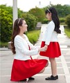 2016 Nuevo Juego de Moda Ropa Set Ropa de la Familia de Madre E Hija 2 Unidades Chaqueta Madre Hija Vestidos Vestido Rojo + Blanco
