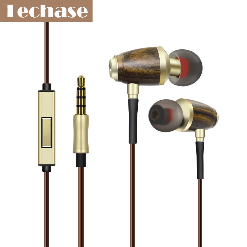 Techase In Ear Fone De Ouvido 3.5MM Super Bass HiFi Music Headphones Wooden MP3 Headset Wired Control With Microphone For Xiomi