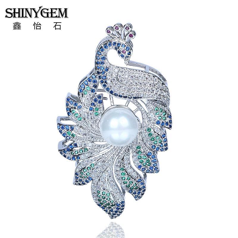 ShinyGem Luxury Enamel Peacock Brooches Elegant Cubic Zircon Animal Brooches Big Pearl Silver Enamel Pin Brooches For Women 2018 цена 2017