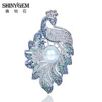 Silver Plated Full Rhinestone Sapphire Crystal Vintage Peacock Brooch Pin For Women 2016 Luxury Brand Bridal