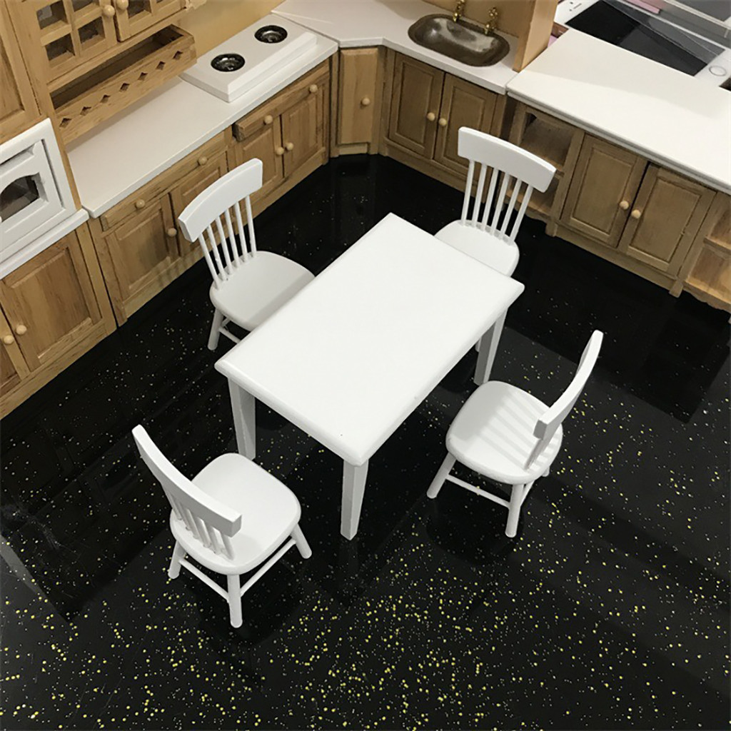 Miniature 1//12 Scale Dollhouse Kitchen Furniture Set Dining Room for Kids