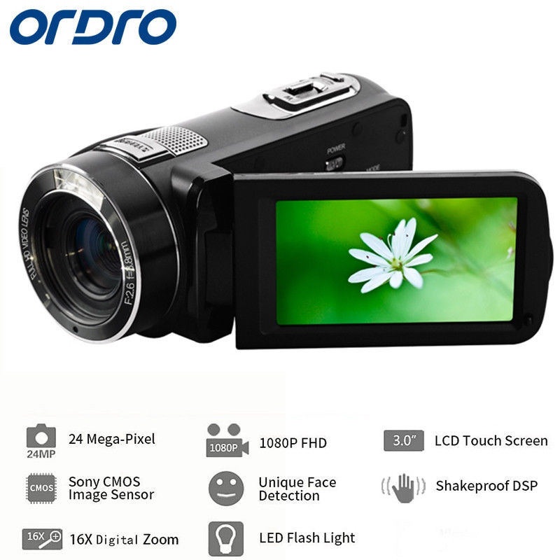 Free shipping!ORDRO Protable Mini DV Z8 PLUS DIGITAL VIDEO CAMERA 24MP 1080P 16X ZOOM CMOS ANTI-SHAKE