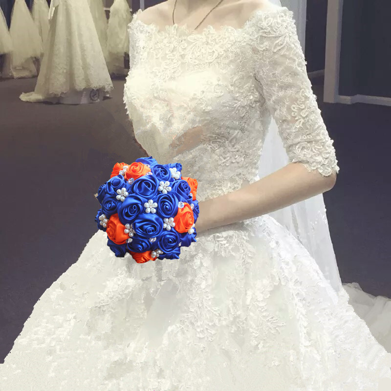 In Stock Royal Blue Orange Crystal Diamond Bridal Bouquet High