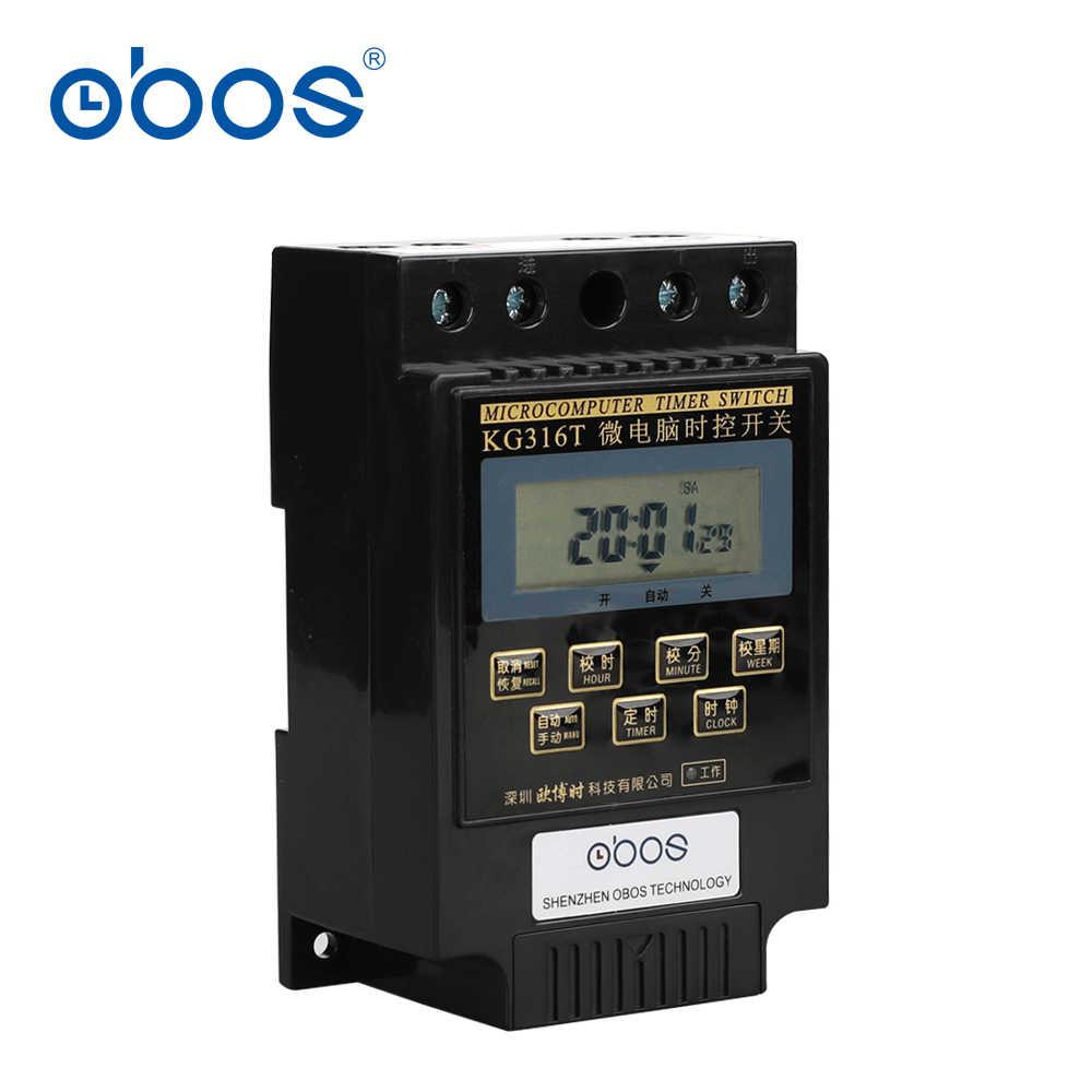 Piękne 25A 220 V zegar cyfrowy na szynę din 220 V wyłącznik czasowy KG316T z 10 razy włączania/wyłączania na dzień/tygodniowy ustawić czas zadzwonił 1 min-168 H