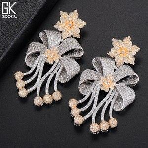 Image 2 - Godki 72mm na moda luxo bowknot borlas nigeriano longo balançar brincos para o casamento feminino zircônia cz dubai dubai bicolor brinco