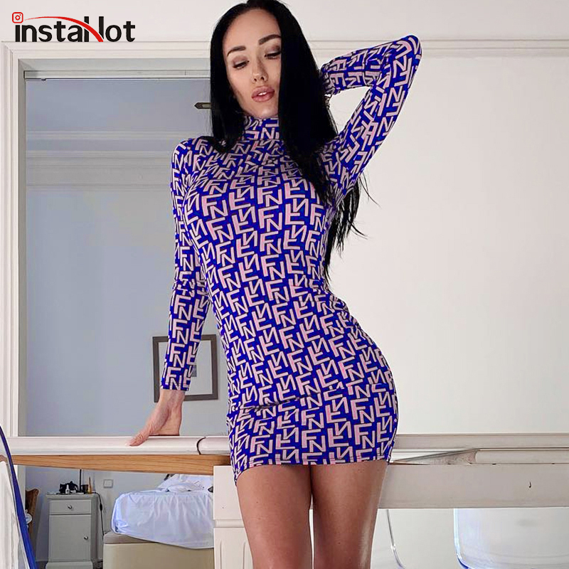 InstaHot Long Sleeve Pattern Print Mock Neck Fitted Slim Purple Sexy Dresses Stretchy Party Casual Streetwear Mini Dress Autumn