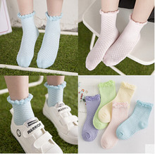 Spring Summer Sweet Girls Fashion Princess Lace Mesh Cotton Socks For Kids Socks 2016 Children Short Socks 5pairs/lot for 0-6 Y