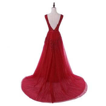 New arrival sexy party evening dresses Vestido de Festa A-line prom dress lace beading Robe De Soiree V-neck dress with Zipper 2