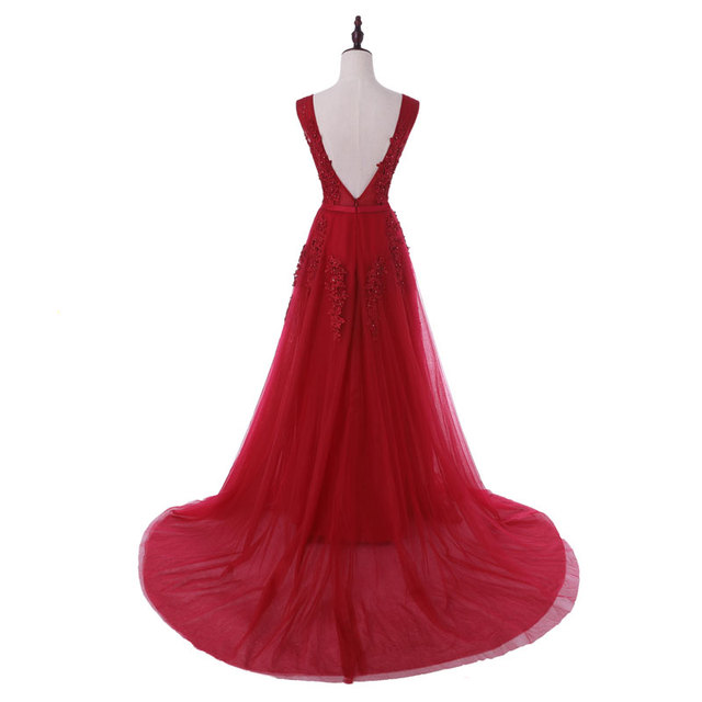 New arrival sexy party evening dresses Vestido de Festa A-line prom dress lace beading Robe De Soiree V-neck dress with Zipper