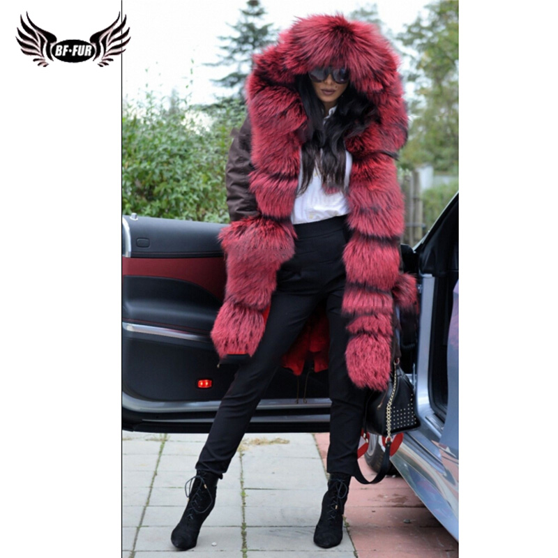 BFFUR Luxury Waterproof Womens Real Fur Parka With Natural Fur Coat 2019 Winter Whole Skin Thick Warm Russian Winter Coats Fur