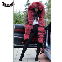 BFFUR Luxury Waterproof Womens Real Fur Parka With Natural Fur Coat 2018 Winter Whole Skin Thick Warm Russian Winter Coats Fur