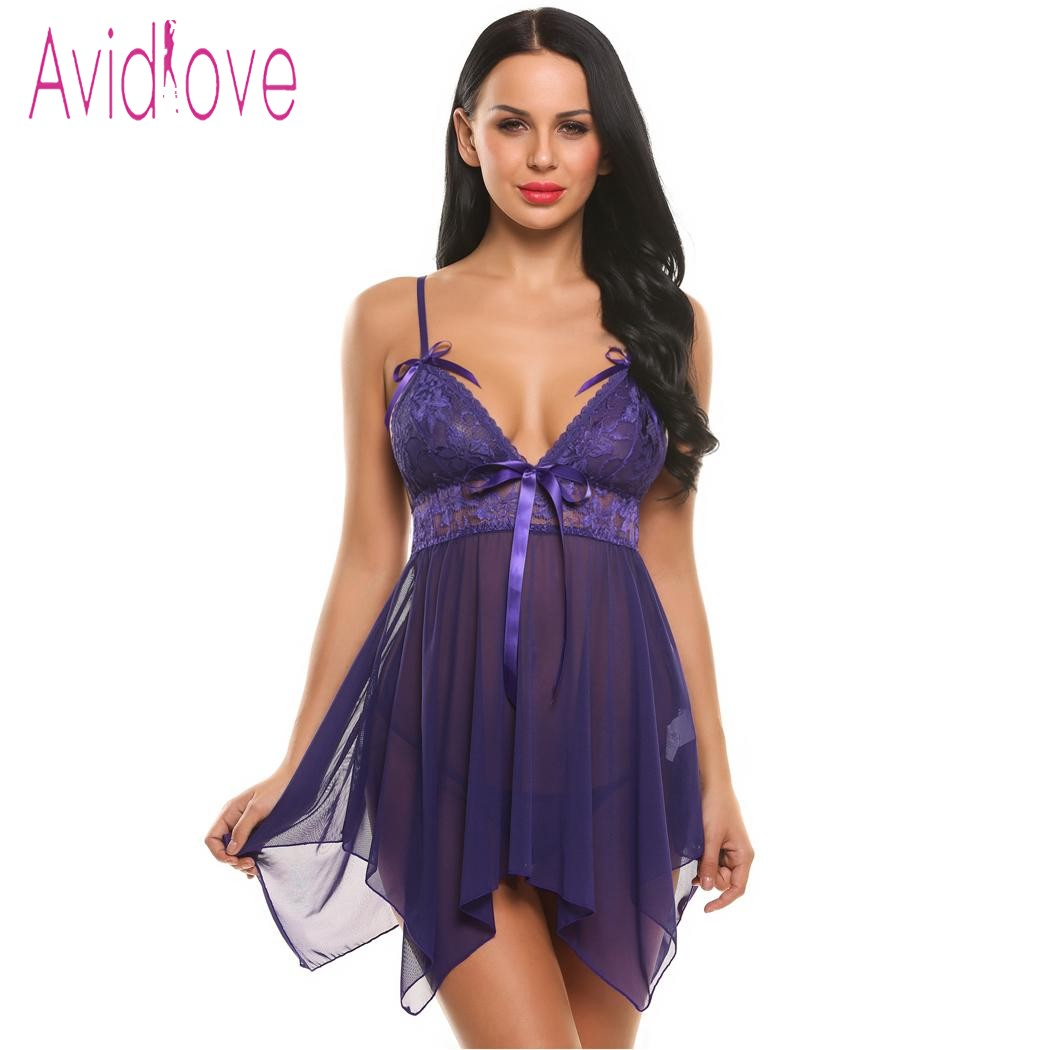 Avidlove Women <font><b>Sexy</b></font> Lingerie Mini <font><b>Dress</b></font> Bow Clothing See-Through Nightwear Babydoll G-String Sleepwear Lingerie <font><b>Sexy</b></font> Erotic <font><b>Hot</b></font> image