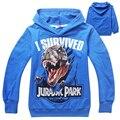 Ropa de los cabritos mundo jurásico dinosaurio de los niños de los hoodies y sudaderas camisetas dinosaurio parque niños clothing sudadera