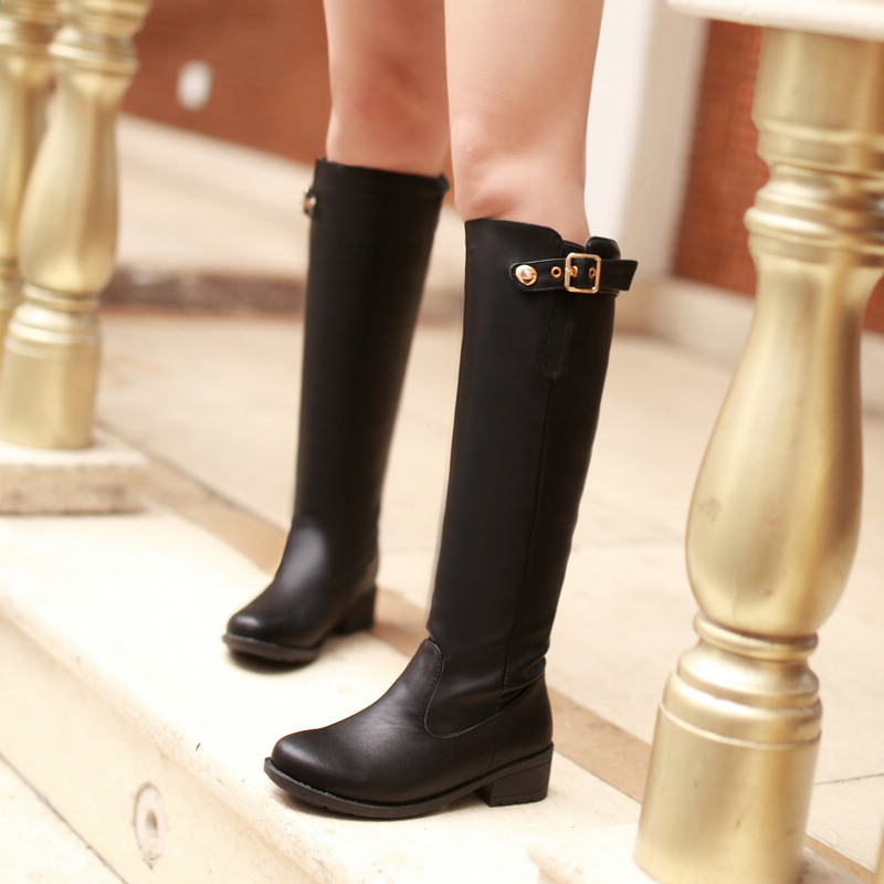 ФОТО Fashion 2015 Brand Women Over the knee Boots Leather Women Winter Boots Casual Ladies Flats Snow Boots Shoes size 35-42