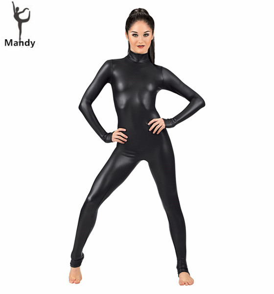 Spandex Full Lycra Zentai bodycon coltrui met lange mouwen Metallic Unitard Gymnastics Black volwassene glanzende catsuit Dance wetlook