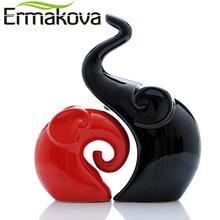 ERMAKOVA 2 Pcs/Pair Ceramic Elephant Figurine Animal Lovers Couple Porcelain Wedding Gift Home Cabinet Living Room Decor