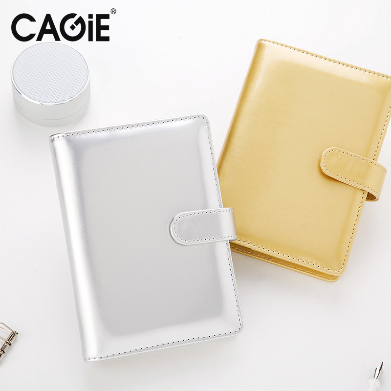 CAGIE Planner a6 Spiral Notebooks Light Pu Leather Gold/Silver Kawaii Dairy and Journals Traveler Notebook School Sketchbook 2016 new arrive a5 a6 pu leather planner snap notebook with notebooks writing pads office