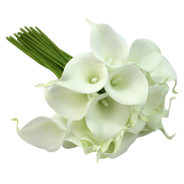 Wedding Bouquet Realistic White Latex Calla Lily Lisianthus Flower Bunch 20 Head