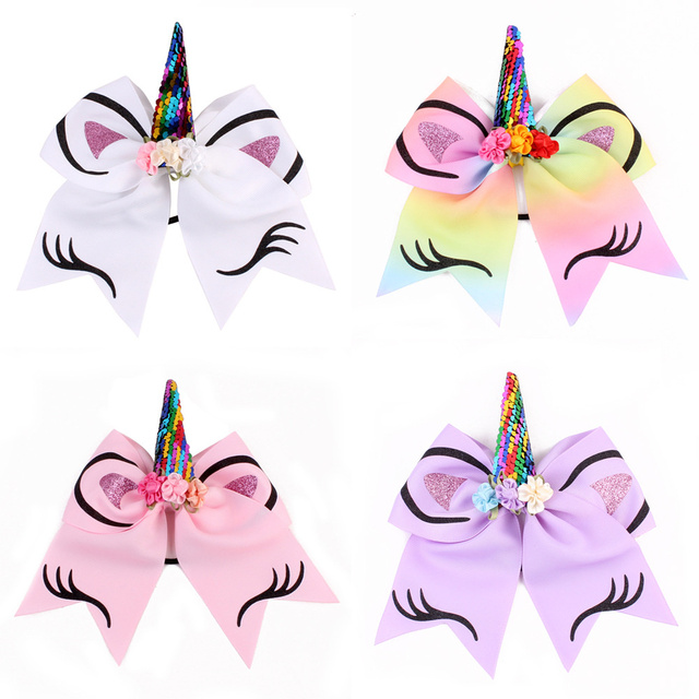 8 Inch Big Bowknot Unicorn Headbands Baby Kids Large Colorful Cute Unicorn  Bow Hair Bands For Party Gift Hair Accessories a26bf6eb795
