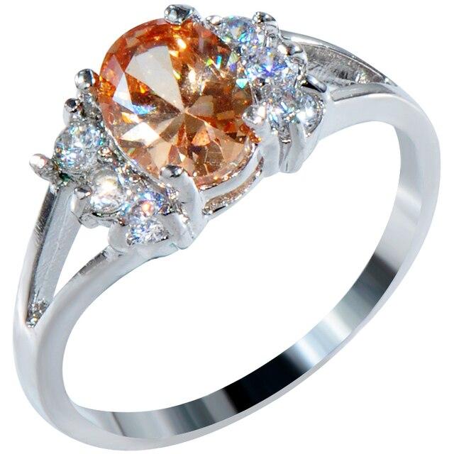 560cee9d3d42 Oval Champagne piedra topacio anillo de compromiso genuino mujer 10kt oro  blanco llenó el anillo del