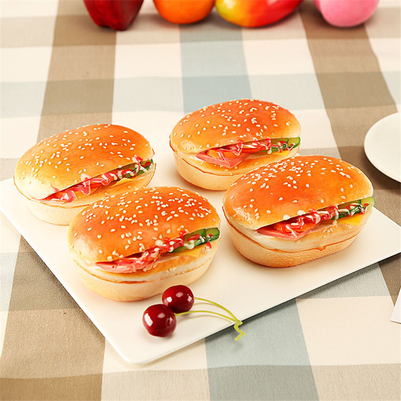 2 kinds Creative Artificial Simulation Hamburger PU Fake Hamburger Dining table Decoration Store Hotel Bakery Fake Hamberger in Artificial Foods Vegetables from Home Garden