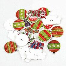 Смешанный 2 отверстия 30/50 шт. Рождественская Снежинка Смешанная Деревянный Рождество дерево швейные пуговицы ручной работы Скрапбукинг для детской одежды