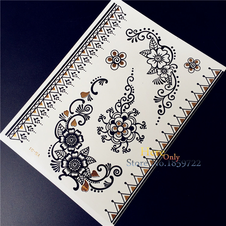2017 new hot women black henna waterproof temporary tattoo trendy HYS-31 indian flower lace design party body art arm leg tattoo