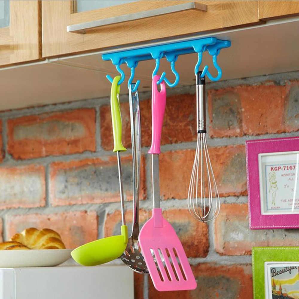 HENGHOME do przechowywania haki przyprawy stojak sufitowe wiszące pręt hak z tworzywa sztucznego półka kuchenna hak ścienny decor do łazienki decor szafa
