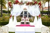 10FT x 10FT x 10FT чистый белый квадрат навес Пелерина/хупы/Arbor простыня павильон Для Свадебные украшения, в том числе драпировкой и подставка