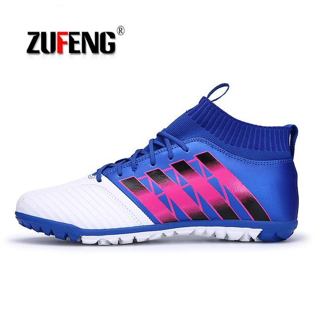 8259c2cd4 Indoor football shoes with ankle Footballs futsal boots 2018 sneakers  soccer shoes for man sport boot ankle sock cotton socks