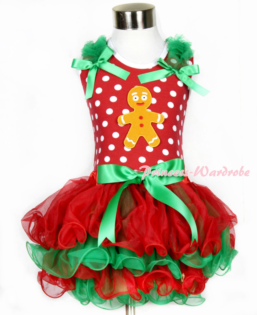 Xmas Minnie Dots Tank Top With Kelly Green Ruffles Kelly Green Bow Brown Gingerbread Man Bow Red Green Petal Pettiskirt MAMH091 minnie dots 4th birthday number minnie print tank top with white ruffles
