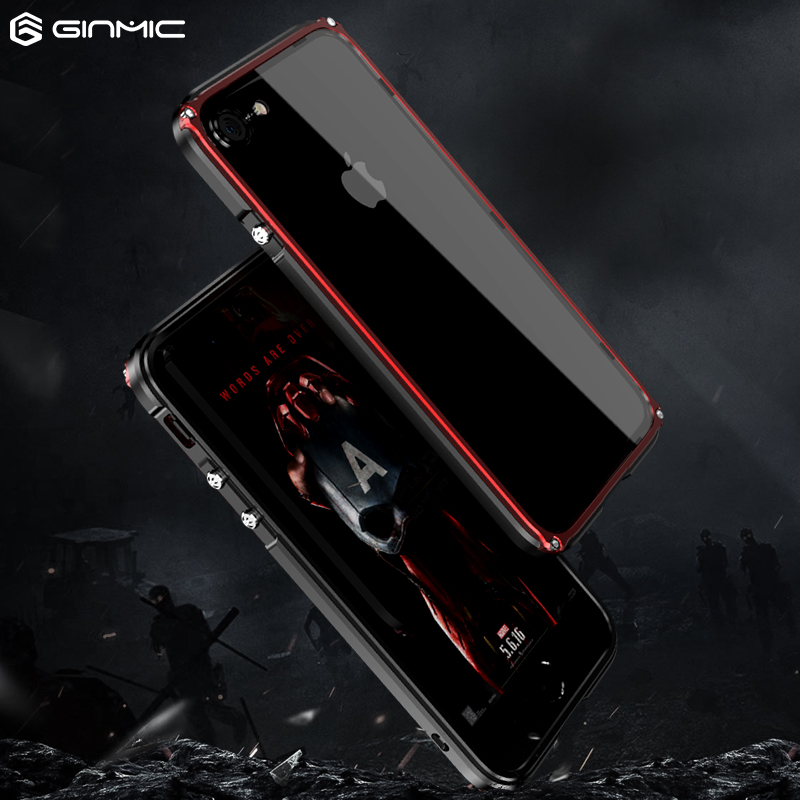 Ginmic Slim Frame phone Cases for apple iPhone 7 8 Plus Aluminum Cover Metal Protector For iPhone8 Luxury Casing shockproof
