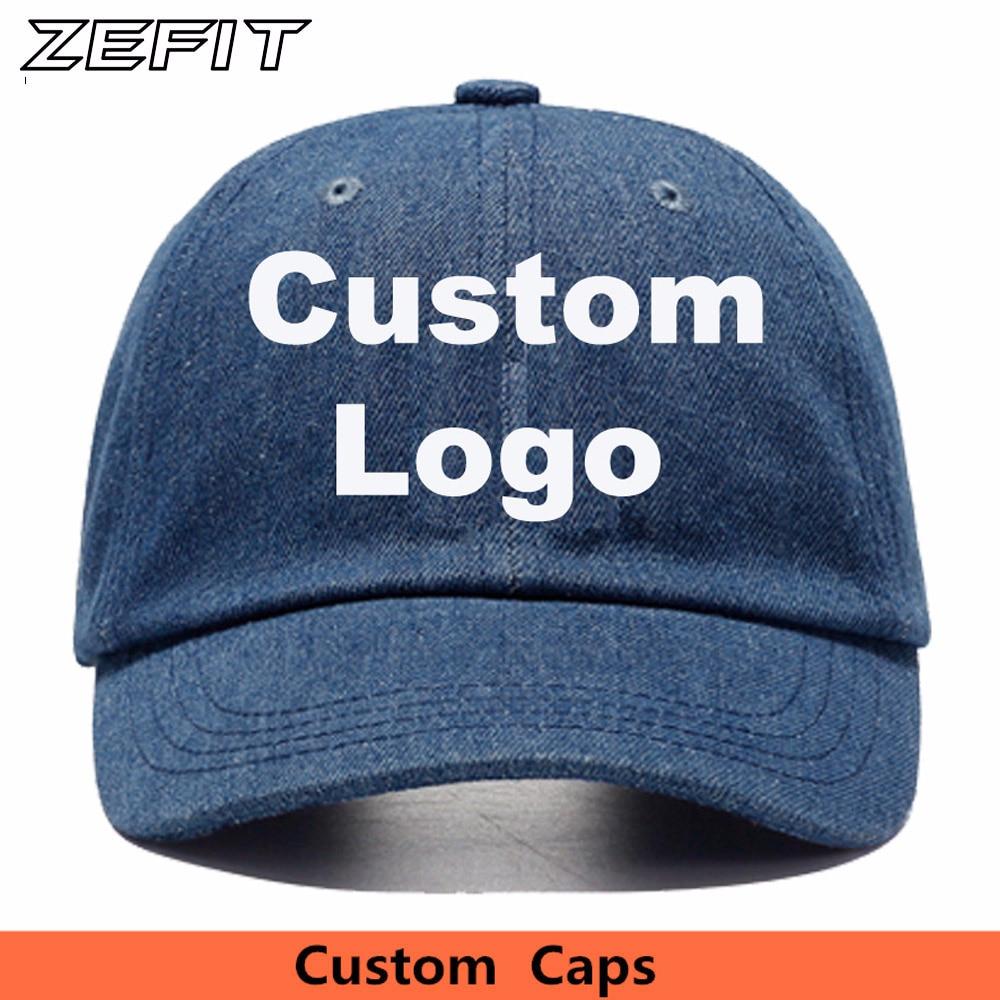 1fde3f38e51 Custom Denim Baseball Cap Embroidery Brand Logo Men Women Casual Jeans Dad  Hat Women Solid Color