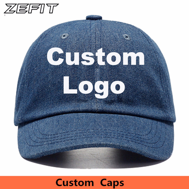 179197a9e1365 Custom Denim Baseball Cap Embroidery Brand Logo Men Women Casual Jeans Dad  Hat Women Solid Color Dead Casquette De Cotton Caps