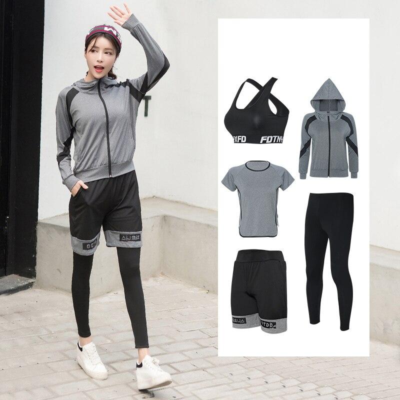 Yoga Set Vrouwen Rits Hoodies Yoga Kleding Beha Shirt Korte Legging 5 Stuks Set Sport Pak Fitness Ademende Gym Kleding