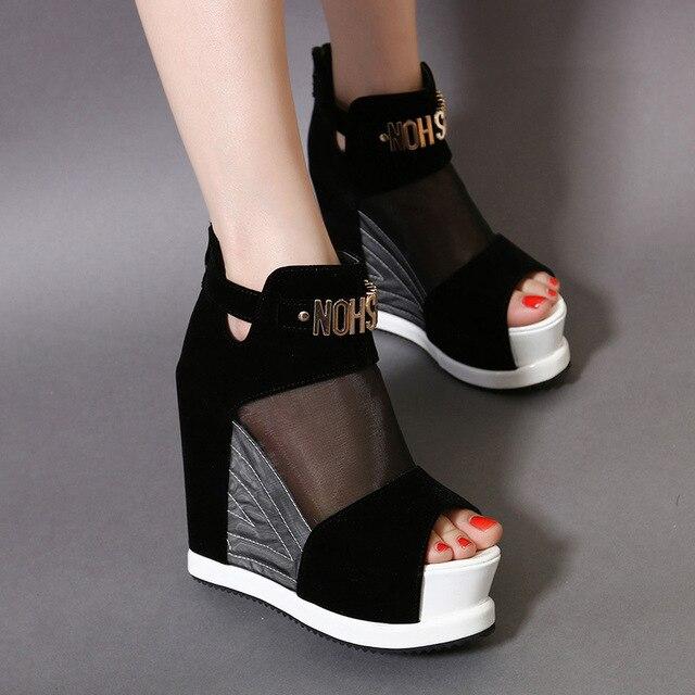 Yeni Akın Ankl Çizmeler Ayakkabı Kadın Yaz Seksi Hollow Yüksek Ile Balık Ağız tek ayakkabı Kalın Alt Takozlar kısa çizmeler