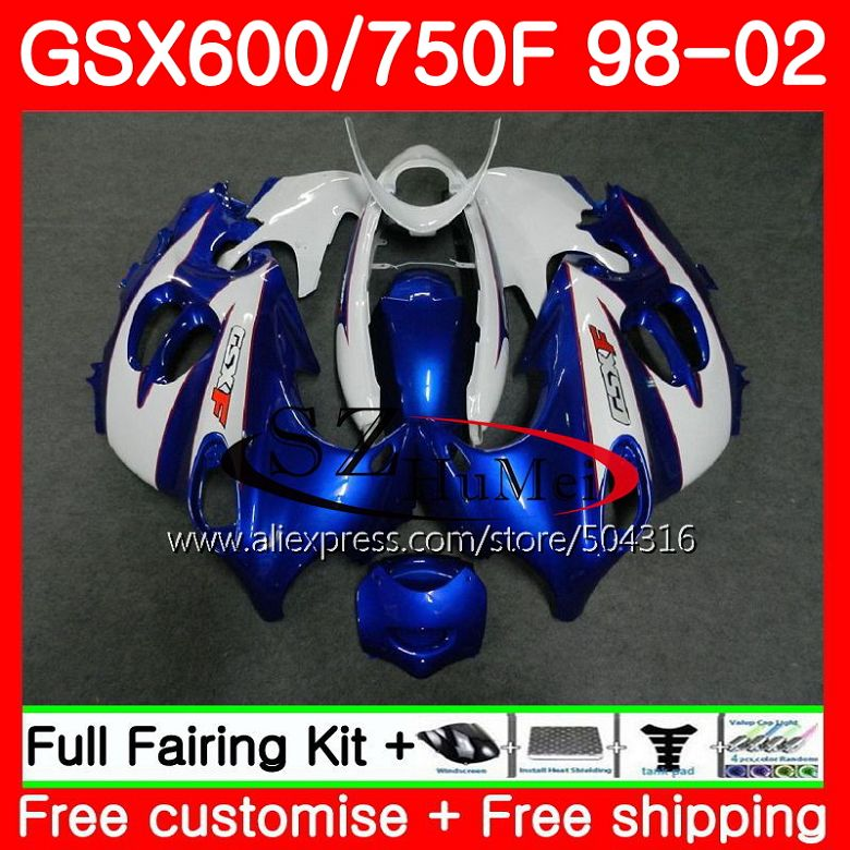White Blue Body For SUZUKI KATANA 98 99 00 01 02 GSXF750 GSX600F GSXF 600 750 28SH6 GSXF600 1998 1999 2000 2001 2002 Fairings