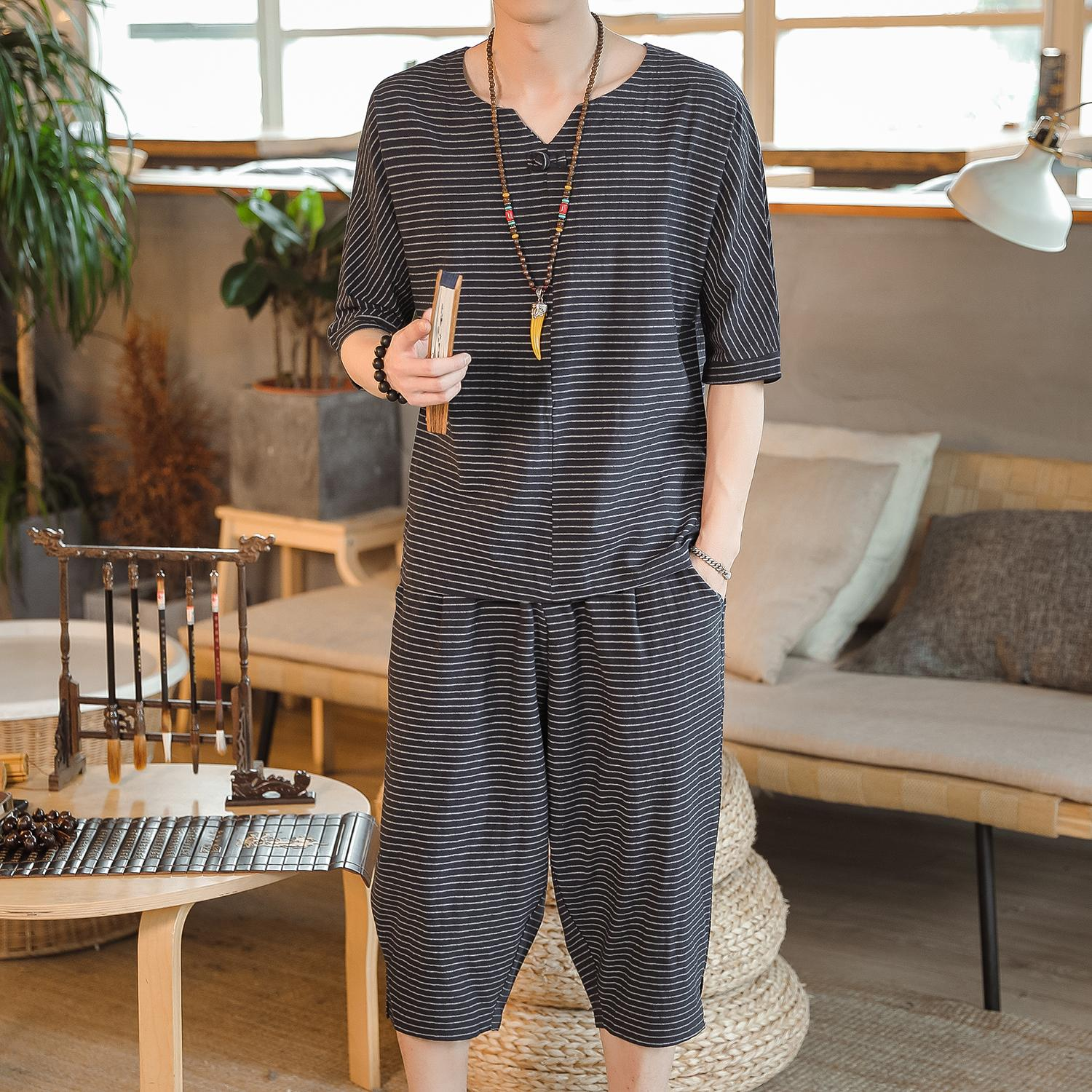 Loldeal Summer Cotton Linen Chinese Striped Short Sleeve Suit Casual Two-piece 5XL Track Men