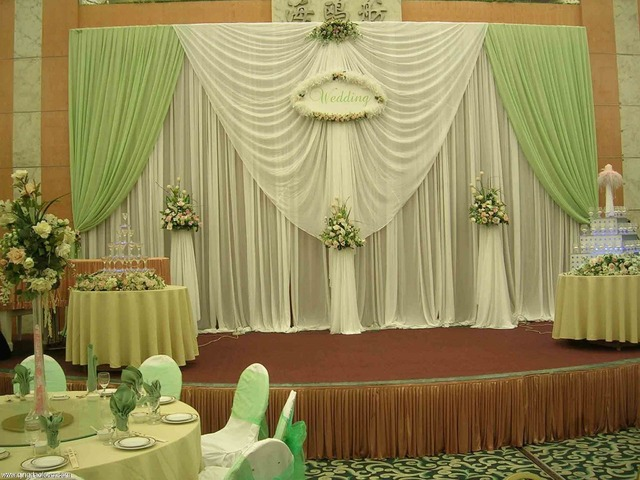 3m*6m wedding backdrop ,white and green color banquet curtains ...