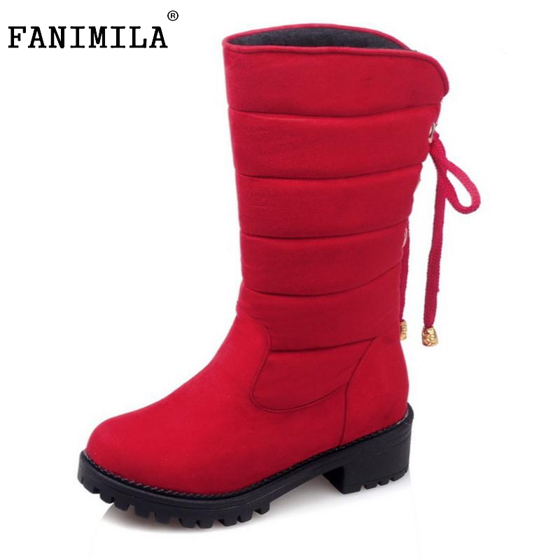 2016 New Arrive Keep Warm Snow Boots Fashion Thick Fur Platform Mid Calf Winter Boots For Women Shoes Footwear Size 30-52 цены