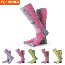 R-BAO 1 Pair Autumn Winter Outdoor Mountaineering Hiking Ski Socks Thicken Warm Sports Breathable Wear-Resisting