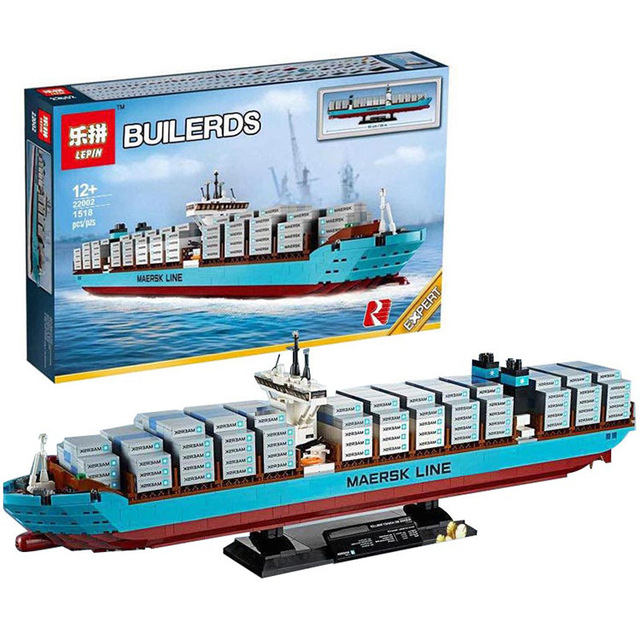 Lepin 22002 1518Pcs Technic Series The Maersk Cargo Container Ship Set Educational Building Blocks Bricks Model Toys Gift 10241 lepin 22001 pirate ship imperial warships model building block briks toys gift 1717pcs compatible legoed 10210